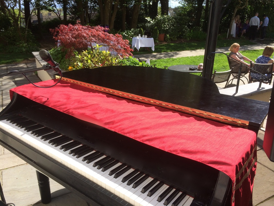 Piano Set up outdoors, for a wedding at the Ardilhaun Hotel, Galway, Ireland
