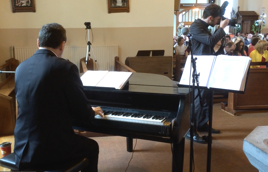 Piano Player at a wedding Ceremony in galway